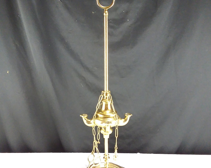 "Antique Brass 4 Wick Whale Oil Lamp/Lantern 22"" tall with Tools Home Lighting"