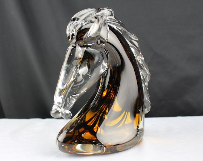 Vintage Art Glass Horse Head Amber Swirls Figurine