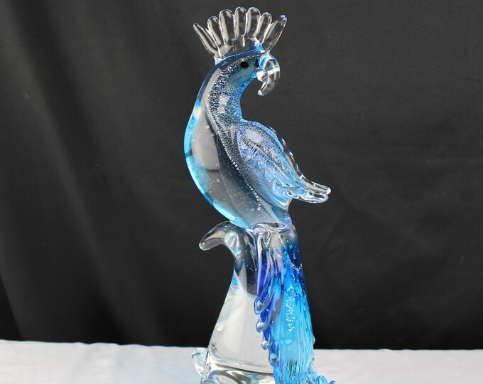 Vintage Art Glass Cocktail Blue and Clear Tropical Bird Figurine