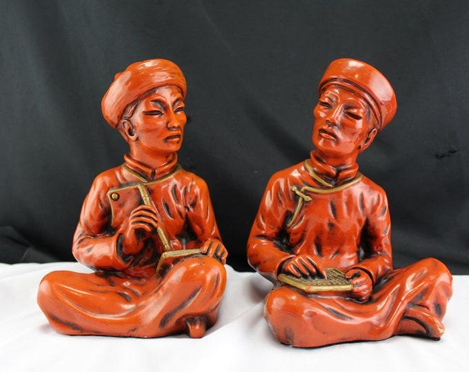 Universal Statuary Corp. 1958 Oriental Scholar Men Chalkware Statue Bookends-Figurines