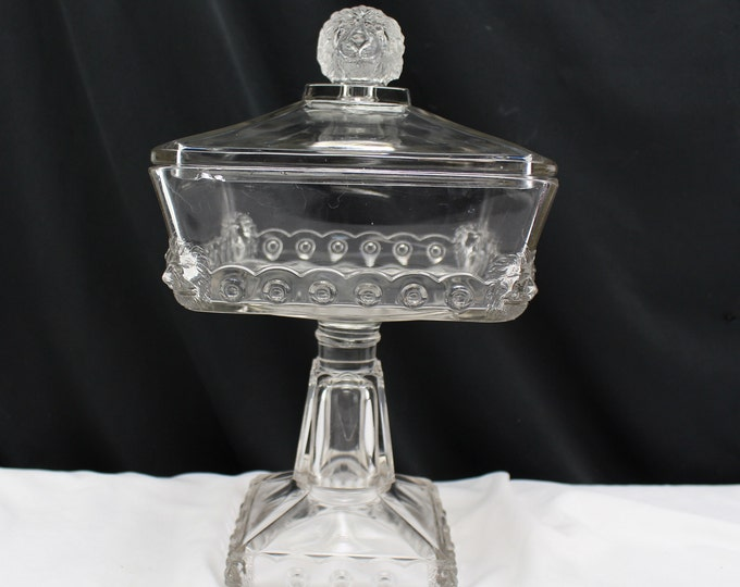 EAPG Compote Atlanta Fostoria Clear Lion Head Footed Candy Dish Glass Circa 1895