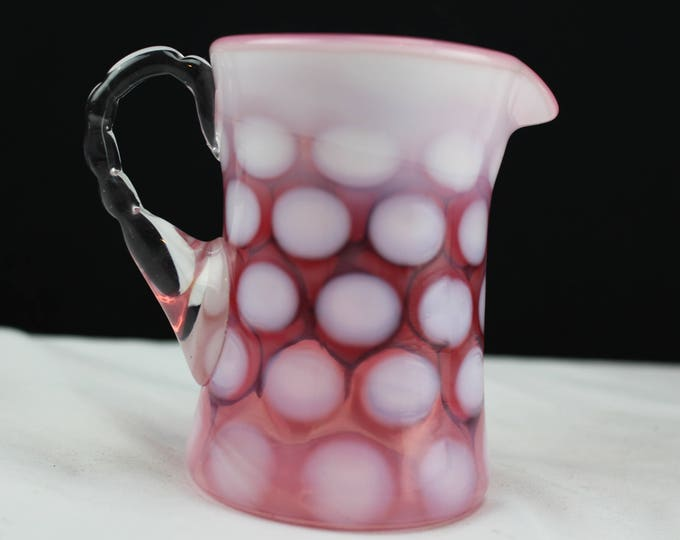 Vintage Fenton Art Glass Cranberry #1924 Dot Optic Cream Pitcher 1944
