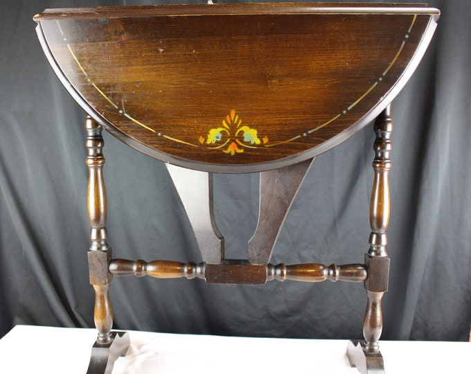 Vintage Round 1920's-30's Mahogany Tea Table Double Drop Leaf Stenciled  Tole Paint Style Furniture End Table