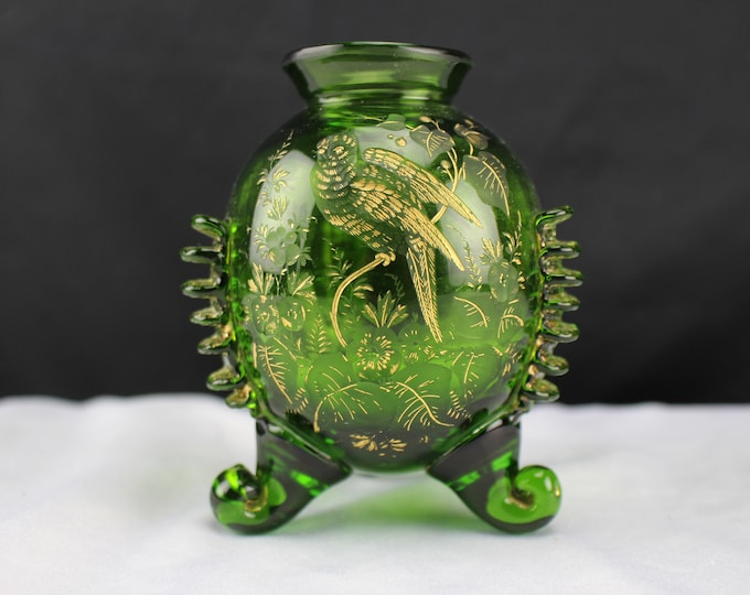 Antique Bohemian green Glass Bud Vase Intallago Engraved 3 Footed Parrots