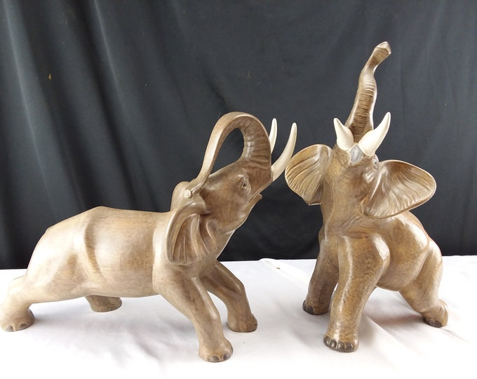 Vintage Pair Lucky Trunk Up African Elephants Tan With Trunks Large German Figurines