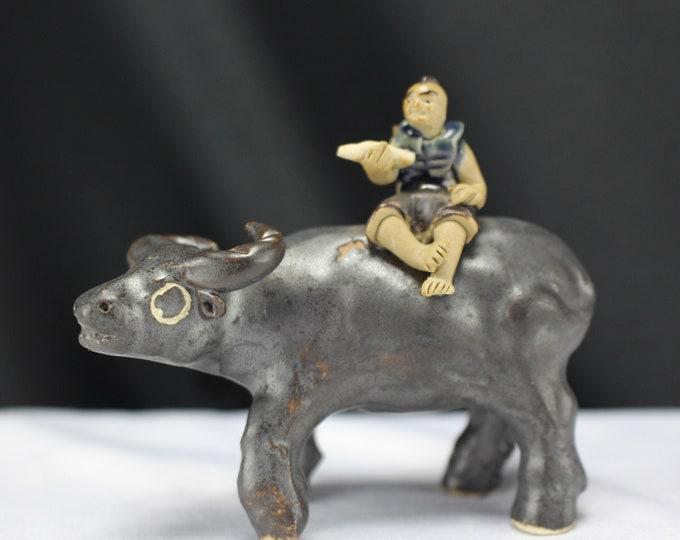 Vintage Mudman on Ox Chinese Pottery Miniature Figurines