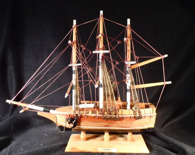 Model Sailing Ship-Wood Handmade 1800,s style sailing ship Crusader-Nautical Decor