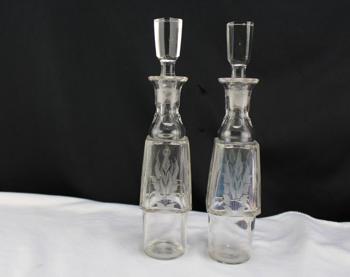 Vintage Engraved Glass  Oil and Vinegar Cruet With Stoppers & Bamboo Design
