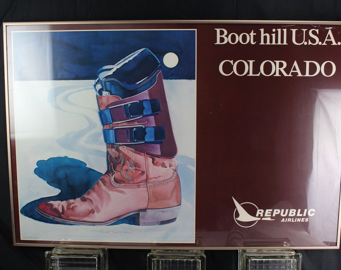 Vintage Advertisement Airline and Ski Poster-Republic Airlines and Boot hill USA Colorado