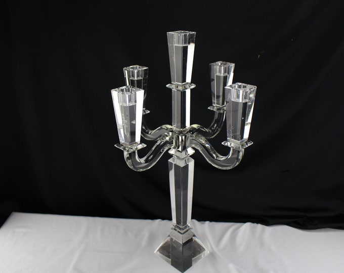 "Elegant Crystal Godinger SUFFOLK 5 Arm Candelabras 21"" Tall Square Prism Cut-Weddinging Home Decor"