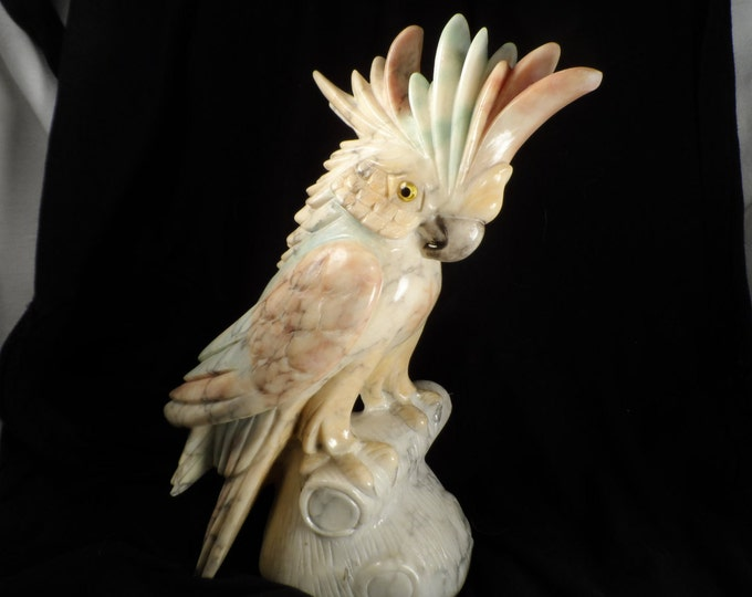 Cockatoo Art Sculpture-Italian Alabaster Pastel Colored Carved Cockatoo-Office Decor-Interior Decorator-Shipping Included