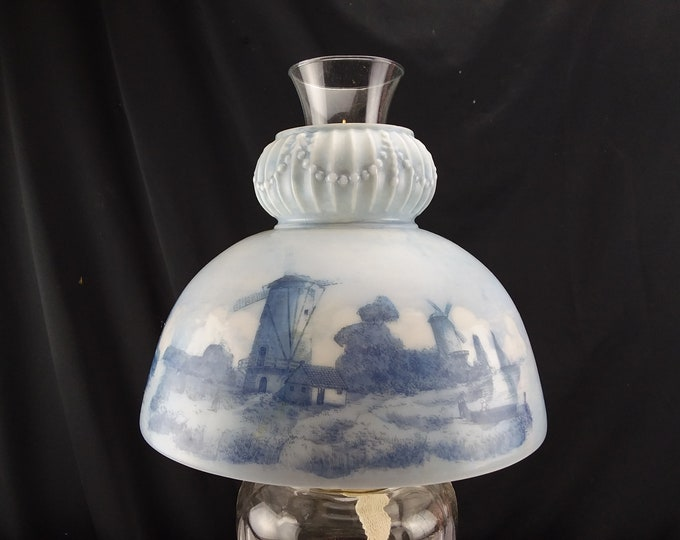 Antique Glass Student Lamp Shade Hand Painted Dutch Landscape, Seascape, Windmills, Blue