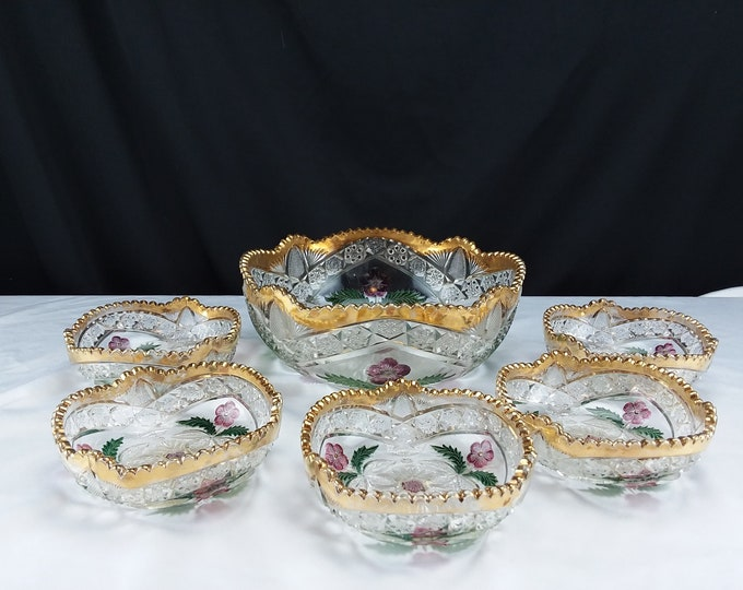 EAPG INDIANA GLASS No. 158 Ellipse; Flower Medallion Circa 1916  Berry Bowl Set