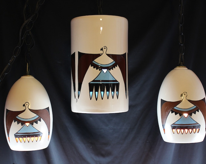 Vintage Set Pottery Swag/Pendant Light Hanging Southwest Painted Phoenix Signed B  Lighting