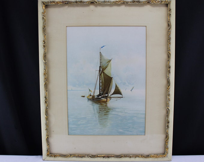 Antique Fine Art Print Seascape Sail Boat C. Romano Medium