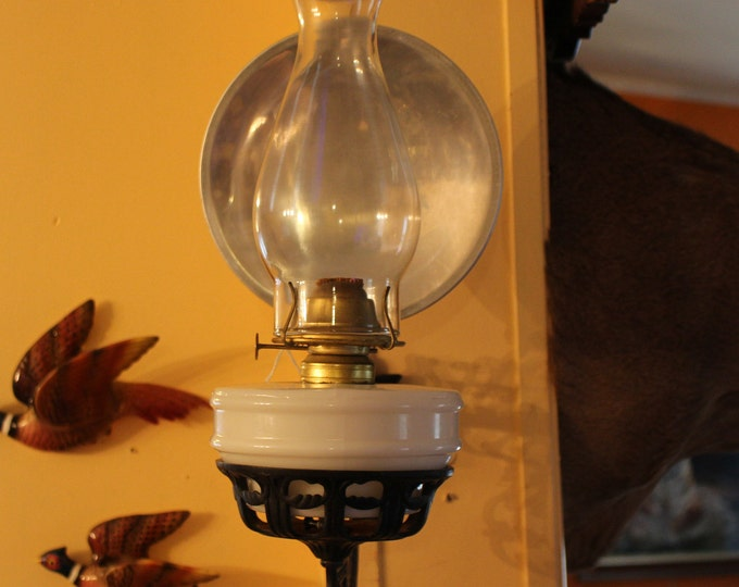 Antique Wall Mount Cast Iron Wall Bracket and Reflector With Milk Glass Oil Lantern