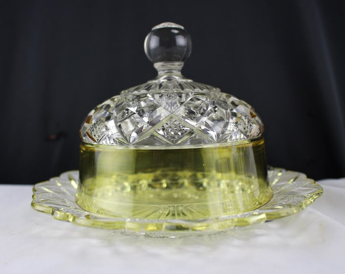Antique EAPG Duncan, Sons & CO. No. 27 Butter Dish With Cover Clear and Yellow Aka Block Band