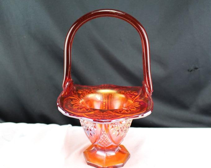 Vintage Fenton Carnival Glass Basket Red Starburst Pattern