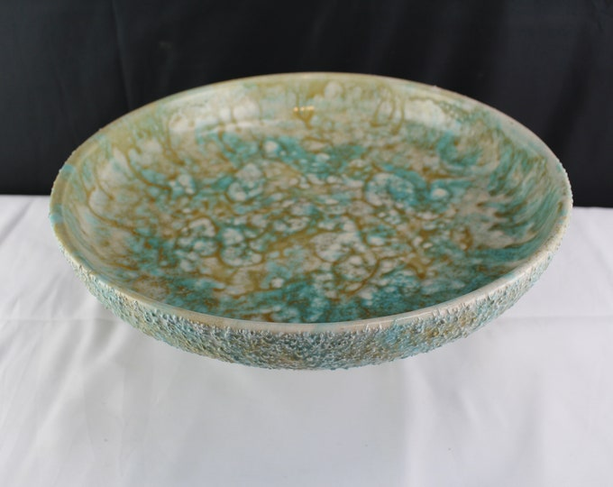Ro Shep California Pottery Mid Century Centerpiece Pedestal Bowl Turquoise