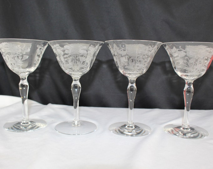 4 Tiffin-Franciscan Flanders Clear (Stem 15042) Champagne/Tall Sherbet