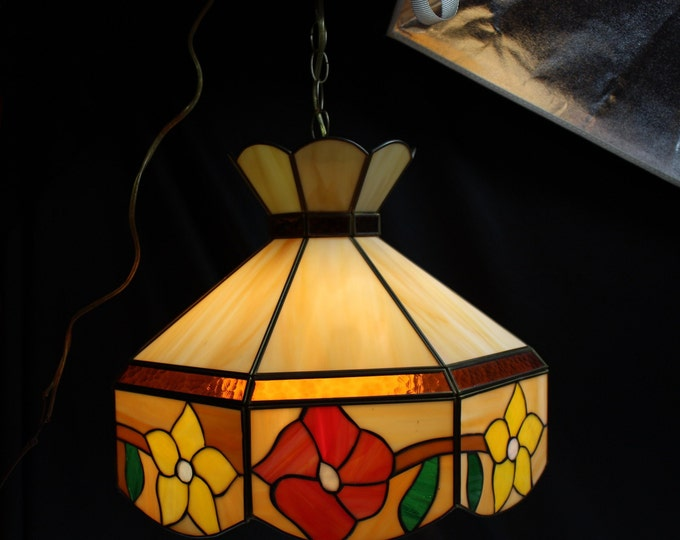 Vintage Tiffany Style Leaded Stained Glass Hanging Light-Lamp Shade-Fixture Pendant Lighting-Home Decor