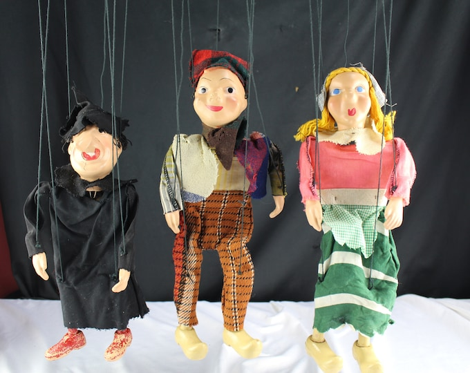 1940's HANSEL and GRETEL and Witch String Puppets Marionettes Toys Collectible