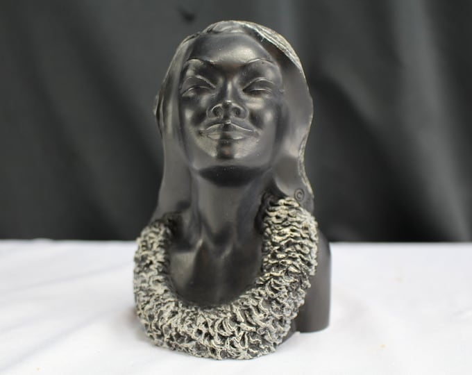 Carved Black Coral Sculpture/Figurine Leialoha Hawaii Frank Schirman 1963