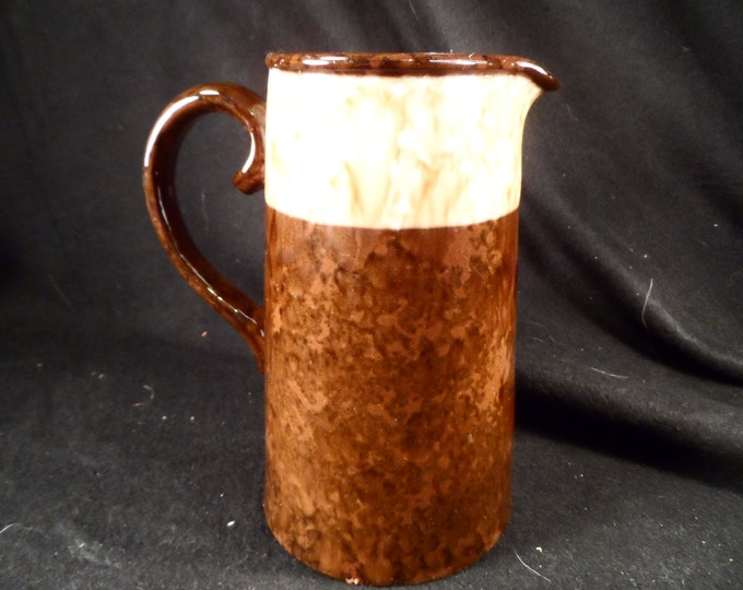 Pottery Pitcher-Lingard Webster Tunstall England Brown Ceramic Pitcher-Collectible Ceramics