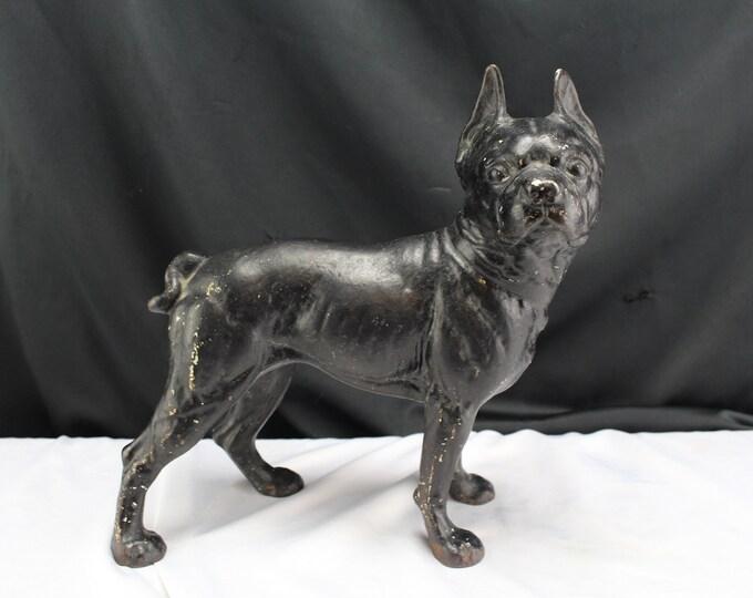 Authentic Antique Hubley Cast Iron Original Boston Terrier Doorstop Marked B & T