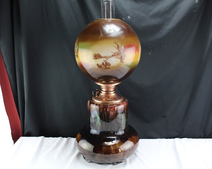 Antique Gone With The Wind Oil Lamp Weller Pottery P & A Burner 1800's Lighting