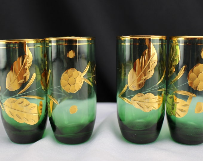 Bohemian Green Shot Glasses with Gold Flowers set of 4
