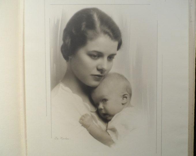 Antique Portrait-Black and White 1930's Portrait Woman and Child-Professional Photographer Truman De Marler-Tutt Estate