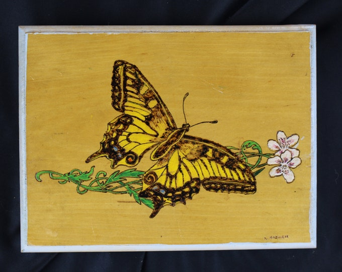 Folk Art K. Mazurak,  Pyrography,-Wood Burning and Painting Wall Decor Yellow Butterfly