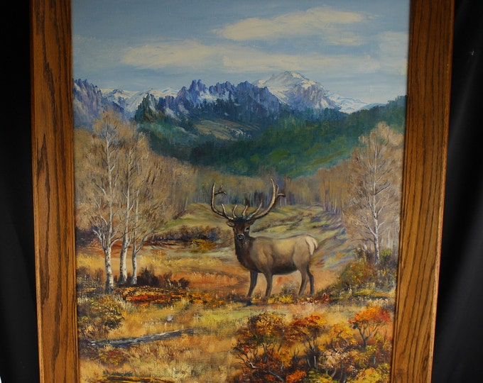 "Oil on Canvas Painting Landscape Colorado Mountains Bull Elk 29"" x 37"" 1940,s"
