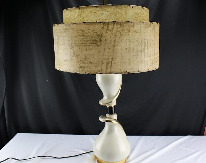 Vintage MCM Mid Century Modern Art Deco Ceramic Table Lamp White and Gold Fiberglass Shade