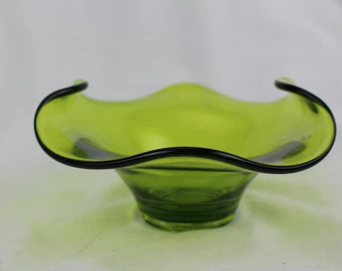 Tiffin Green Glass Post Art Deco Serving Bowl/Candy or Bon Bon bowl.