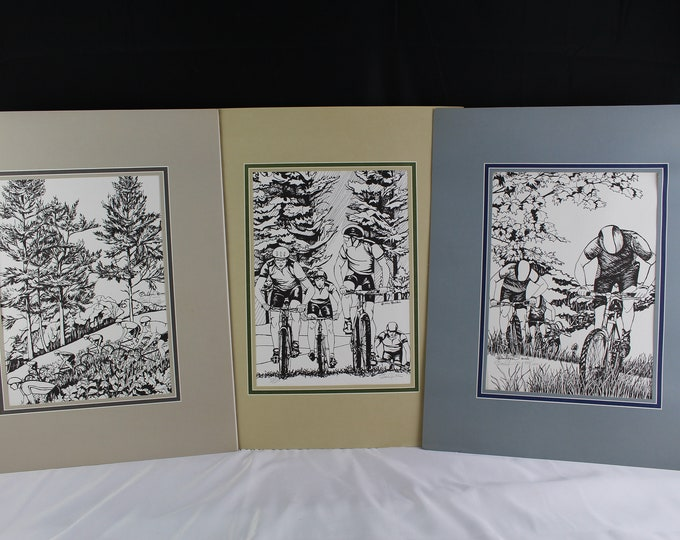 Signed and Numbered Art Prints Mountain Bike Races Set of 3 all Matted signed Balbin 90's