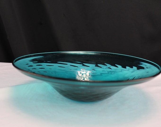 Vintage Pairpoint Crystal Cape Cod Mass. Aqua Blue Pillow Pattern Blown Glass Bowl