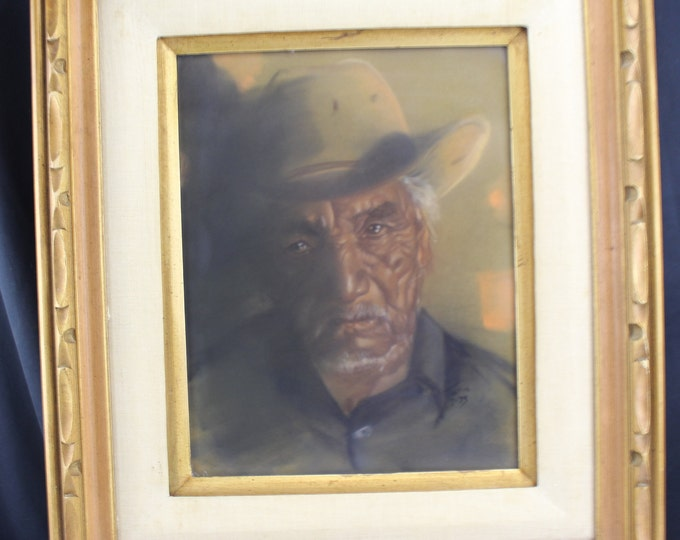 Vintage Pastel on Velour Painting/Drawing Portrait Ethnic Old Mexican Cowboy