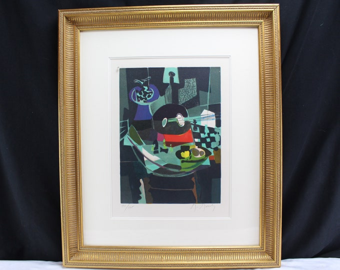 Fine Art Marcel Mouly-NATURE MORTE A L'ECHIQUIER-Litho-Limited#126/175 Abstract Cubism