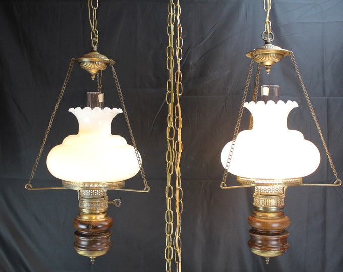 Vintage Pair Hanging Swag Lights GWTW Milk Glass Shade Brass And Wood