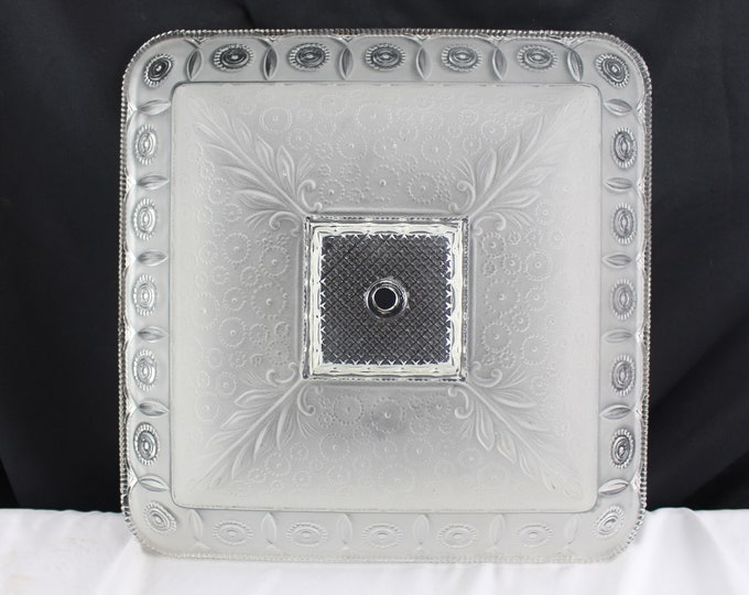Vintage Retro Huge Heavily Detailed Square Glass Frosted Ceiling Light Shade