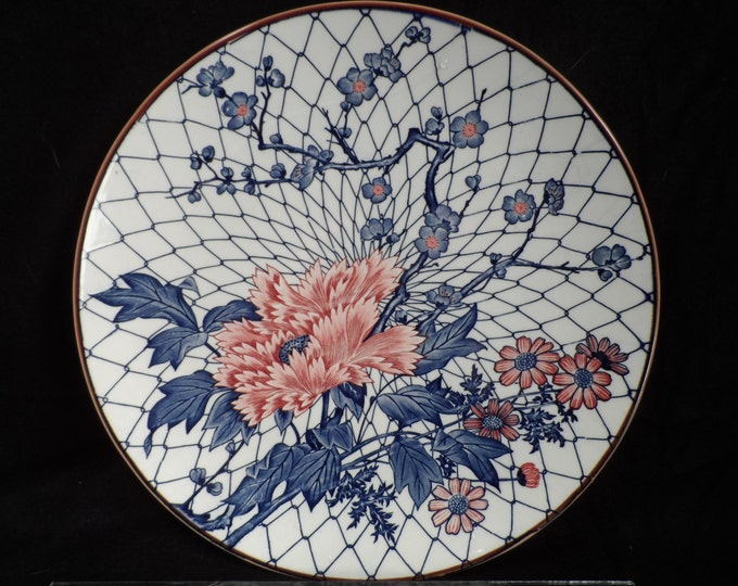 Porcelain Platter-Platters with Pink Peonies and Poppies Marked Japan-Large serving platter enameled decor