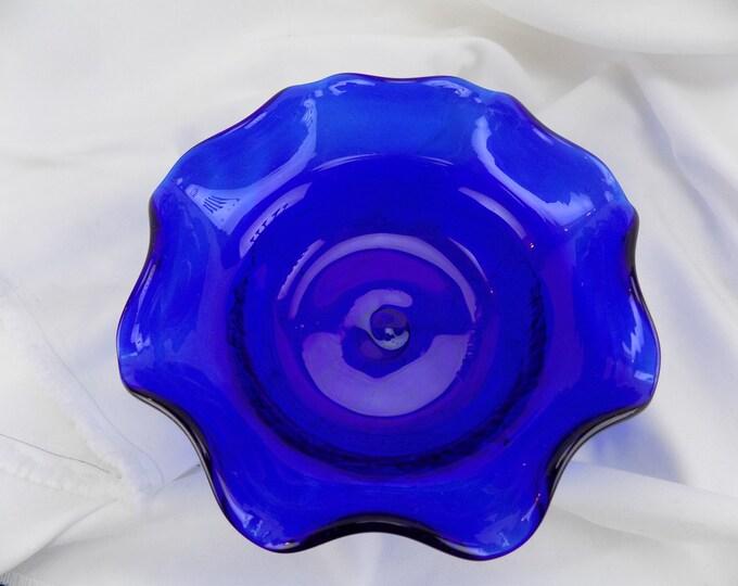 Joe Hamon Glass Cobalt Blue Crackle Bottom Bowl With Ruffled Edge, MMA Supplier