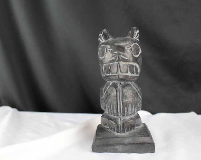 Handcrafted In Alaska Carved Stone and Figurine Totem Wolf Bear Authentic