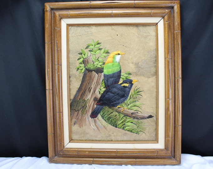 Oil Painting on Board Tropical Birds Black and Yellow Wildlife Home Decor