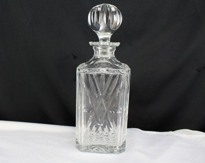 Barware Lead Crystal Glass Square Decanter With Stopper Home decor