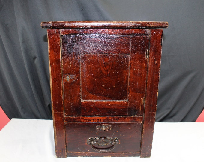 Antique Small Locking Liquor Cabinet 1800's Wood End Table