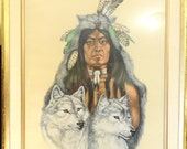Fine Art-Native American and Wolves-Jacque Evens Colored Litho Limited 19 20 quot The Society quot -Wild Spirit Wolf Sanctuary