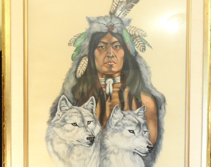 "Fine Art-Native American and Wolves-Jacque Evens Colored Litho Limited # 19/20 ""The Society""-Wild Spirit Wolf Sanctuary"